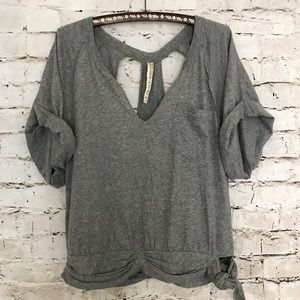Free People FP Beach Grey Open Back V Neck Tee L
